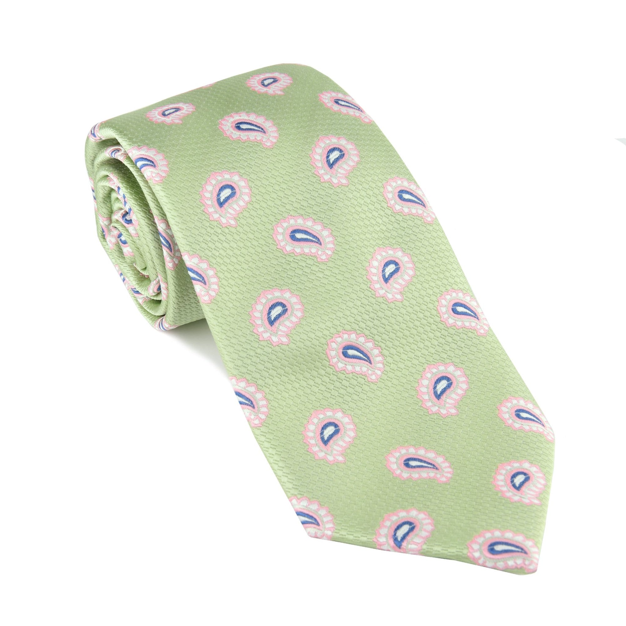 Mint Green Pine Paisley Tie - Haspel Clothing