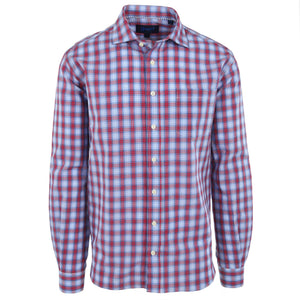 Audubon Blue & Red Seersucker Check - Haspel Clothing
