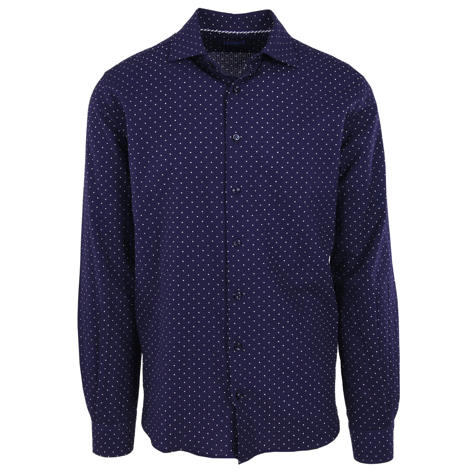 Erato Navy Dot Seersucker