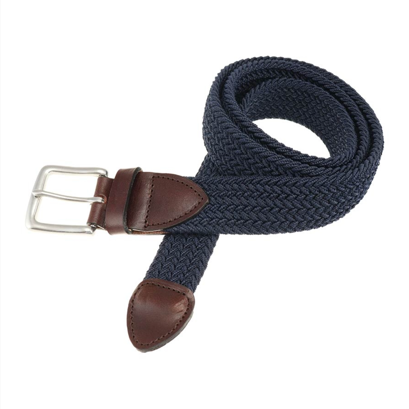 Crafted to add a rich style to any look, our Haspel x T.B. Phelps Collaboration, the Navy Braided Belt features a Briar Waxy leather tab, antique nickel finish buckle, and four color choices of braided elastic.