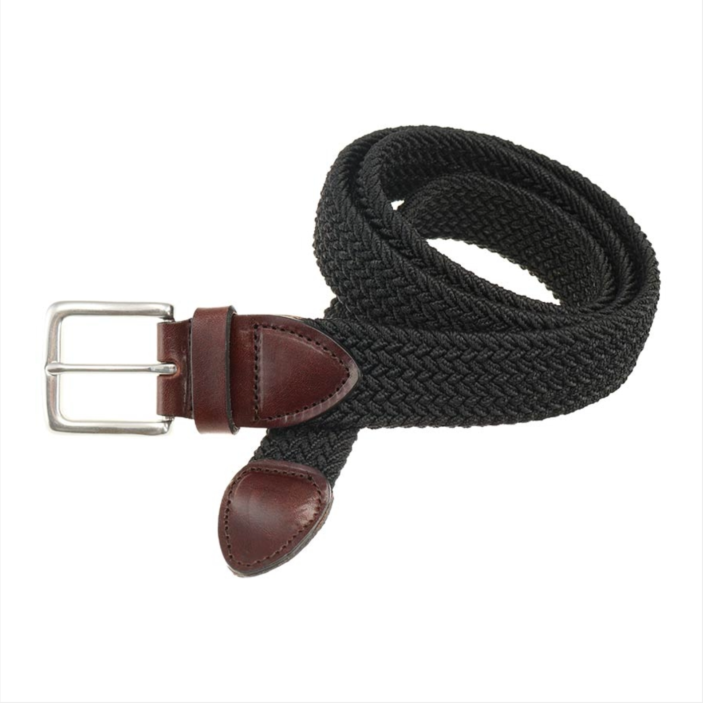 Crafted to add a rich style to any look, our Haspel x T.B. Phelps Collaboration, the Black Braided Belt features a Briar Waxy leather tab, antique nickel finish buckle, and four color choices of braided elastic.