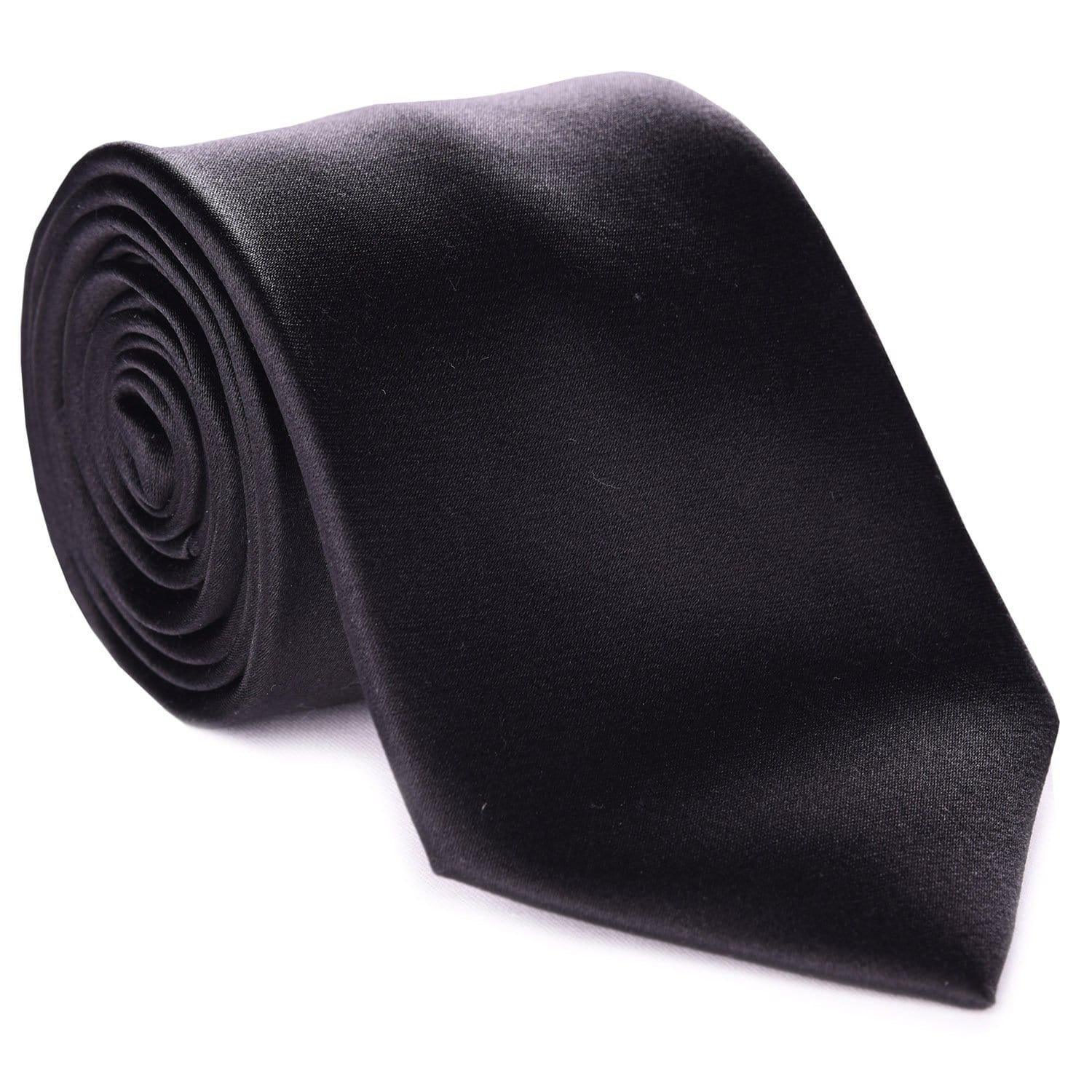 Black Formal Satin Tie - Haspel Clothing