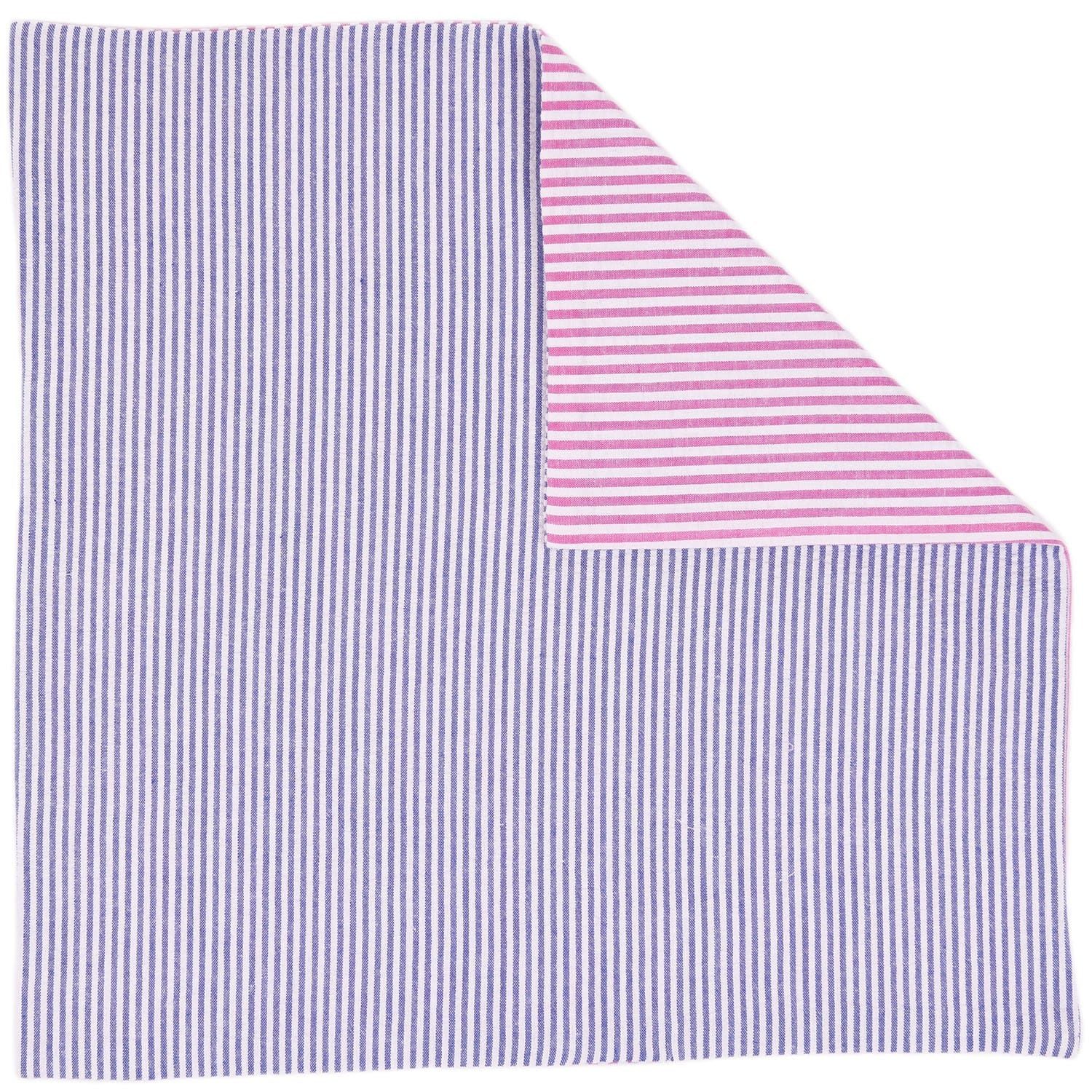 Pink Blue Seersucker Pocket Square - Haspel Clothing