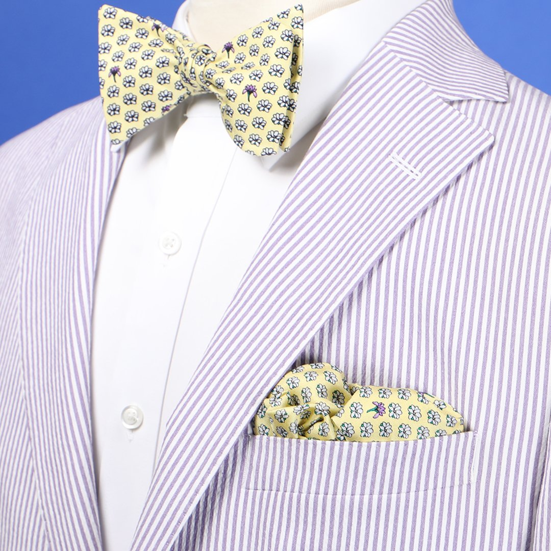 Limited Edition NOLA Couture X Haspel Yellow Magnolia Print Bow Tie - O/S