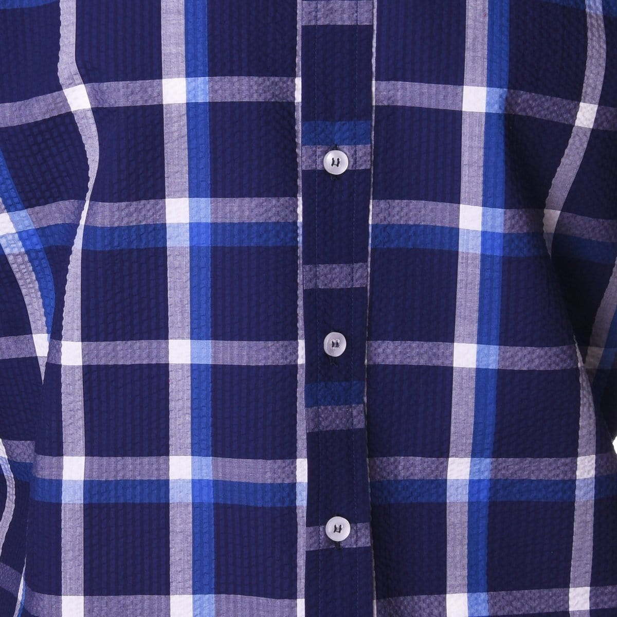 Carroll Navy and White Seersucker Plaid