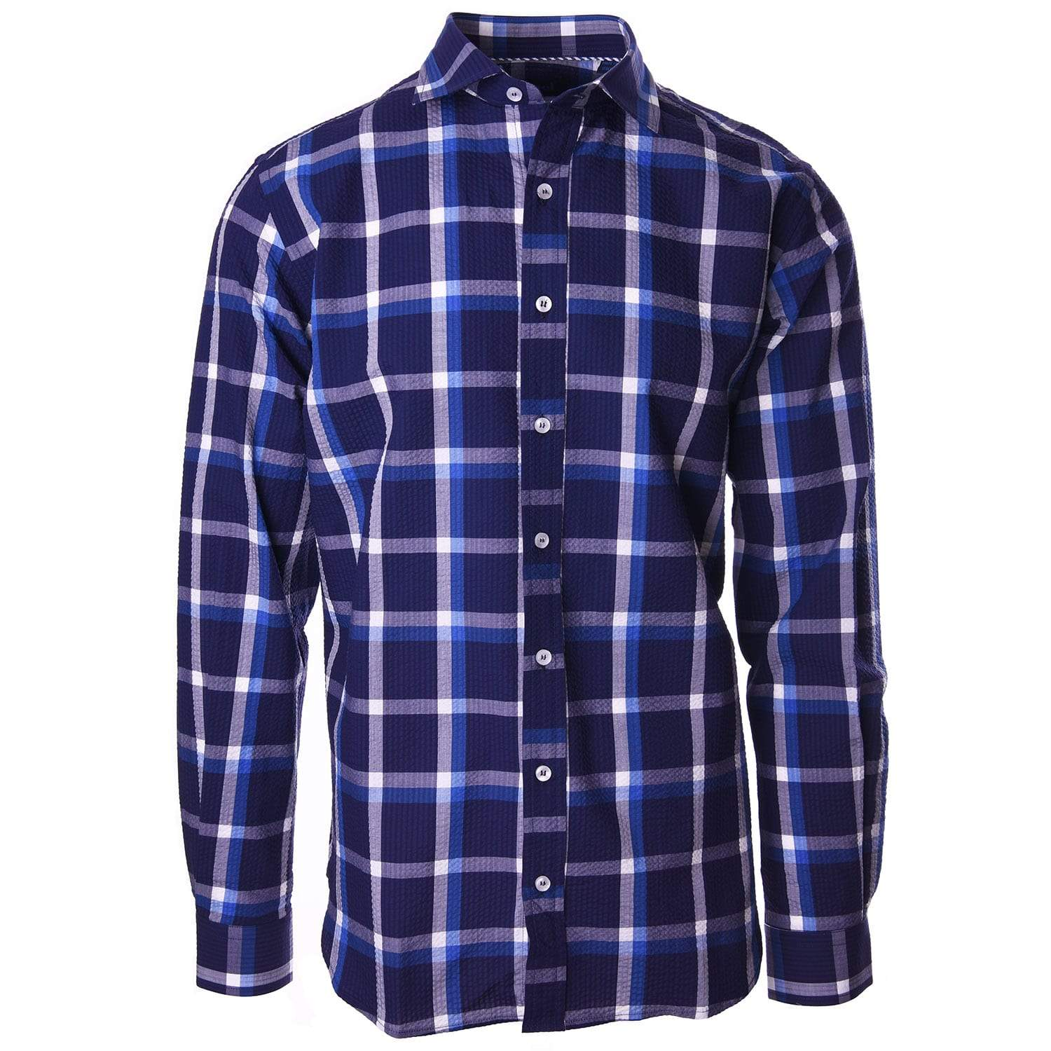 Carroll Navy and White Seersucker Plaid - Haspel Clothing