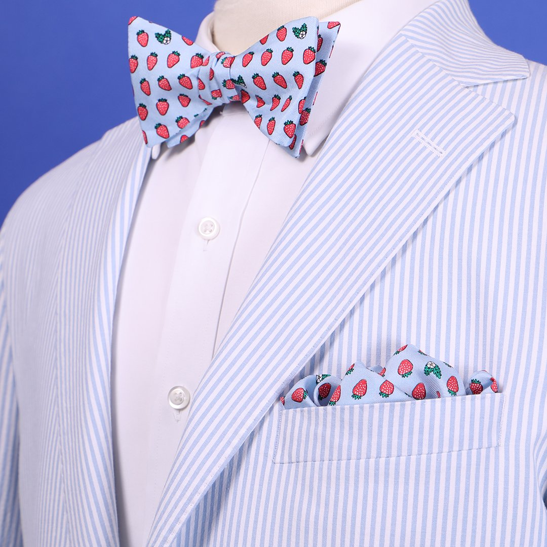 Limited Edition NOLA Couture X Haspel Lt. Blue Strawberry Print Bow Tie - O/S