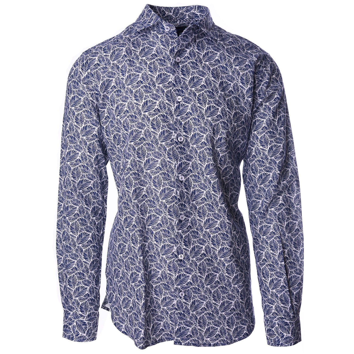 Erato Navy White Leaf Print - Haspel Clothing
