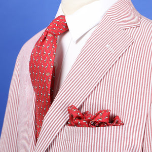 Limited Edition NOLA Couture X Haspel Red Pelican Print Pocket Square - O/S
