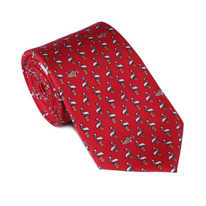 Limited Edition NOLA Couture X Haspel Red Pelican Print Tie - O/S
