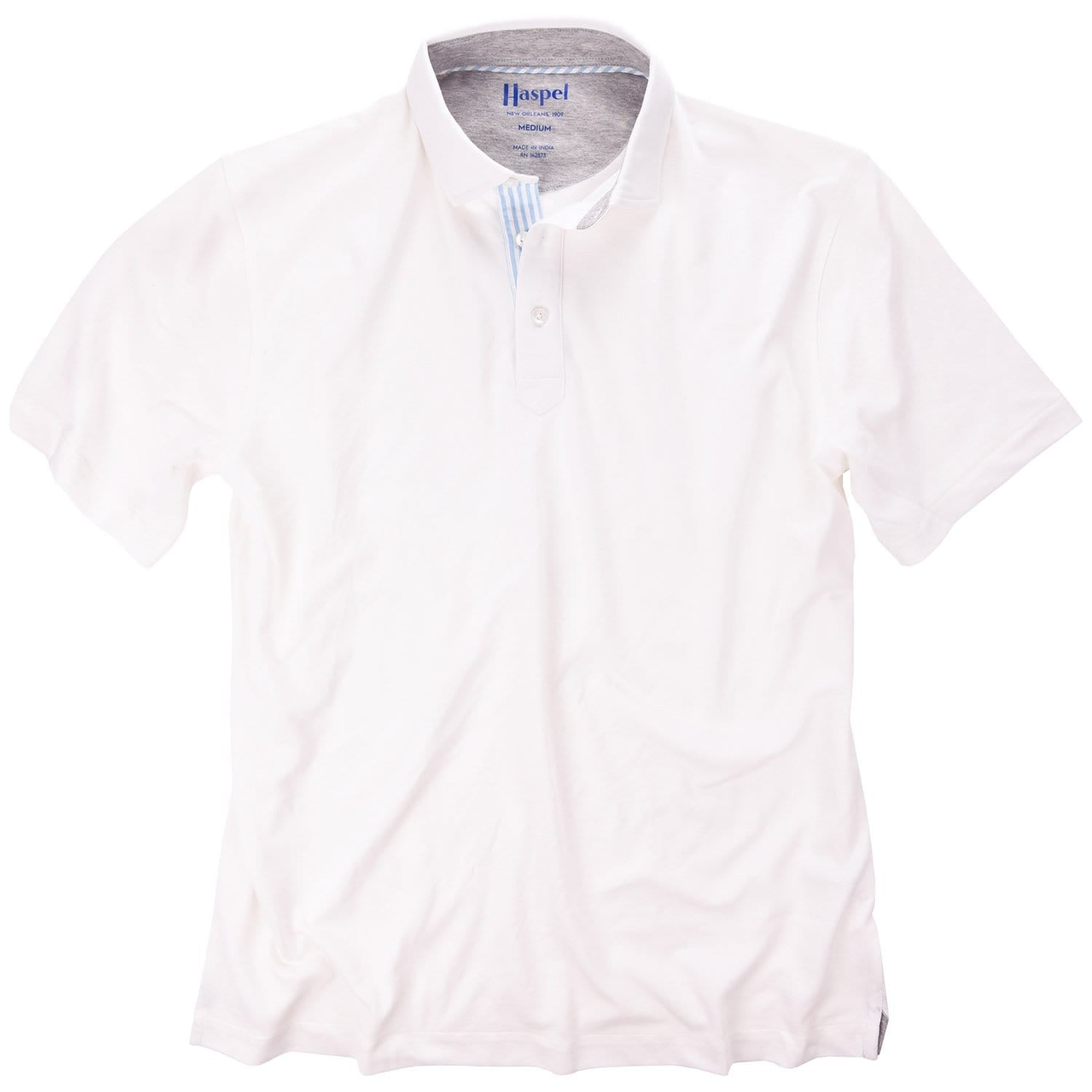 Fulton White Stretch Pique Polo - Haspel Clothing