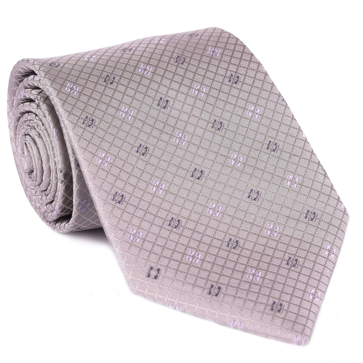 Gray Diamond Print Tie