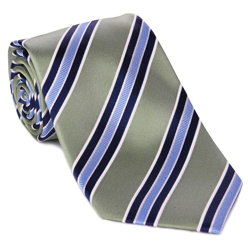 Green with Blue Bar Stripe Tie
