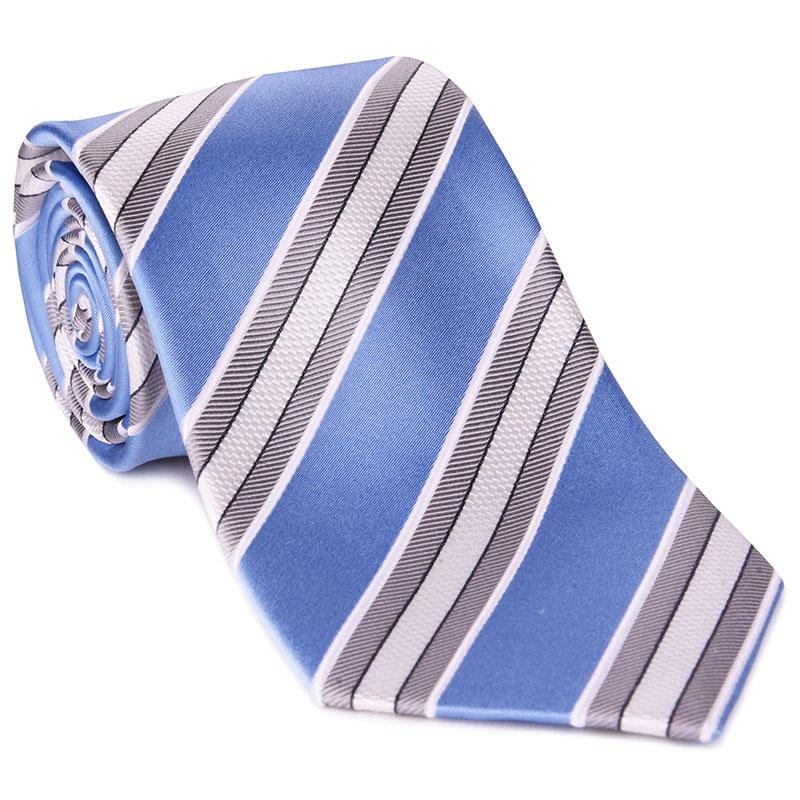 Light Blue Satin with Gray Bar Stripe Tie