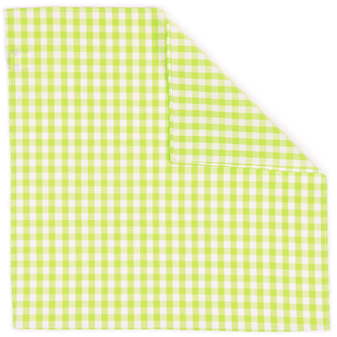 Lime Gingham Pocket Square