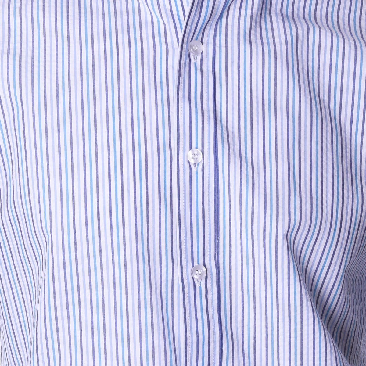 Nicholson Navy and Teal Seersucker Stripe - Haspel Clothing