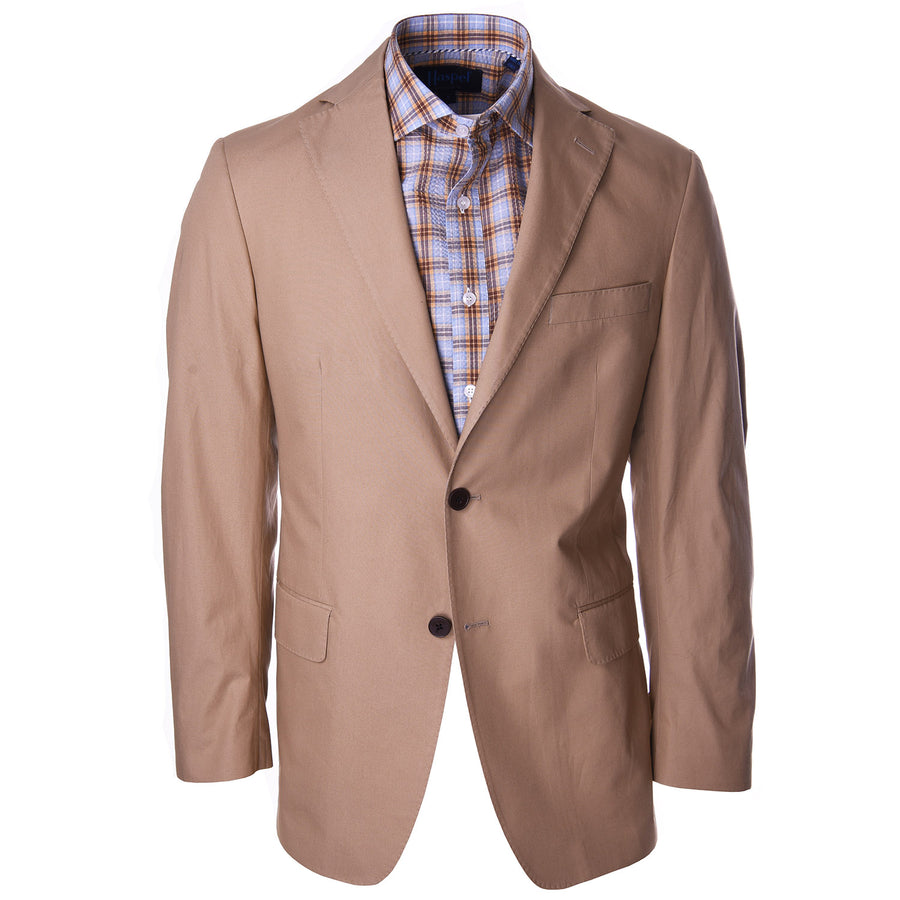 Nicholson Tan and Light Blue Seersucker Check - Haspel Clothing