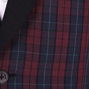 Burgundy Blue Seersucker Royale Plaid Dinner Jacket - Haspel Clothing