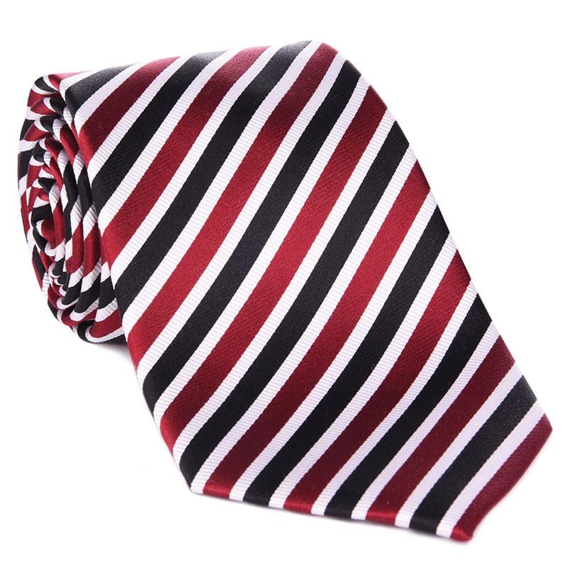 Black, Red & White Collegiate Tie - Haspel Clothing