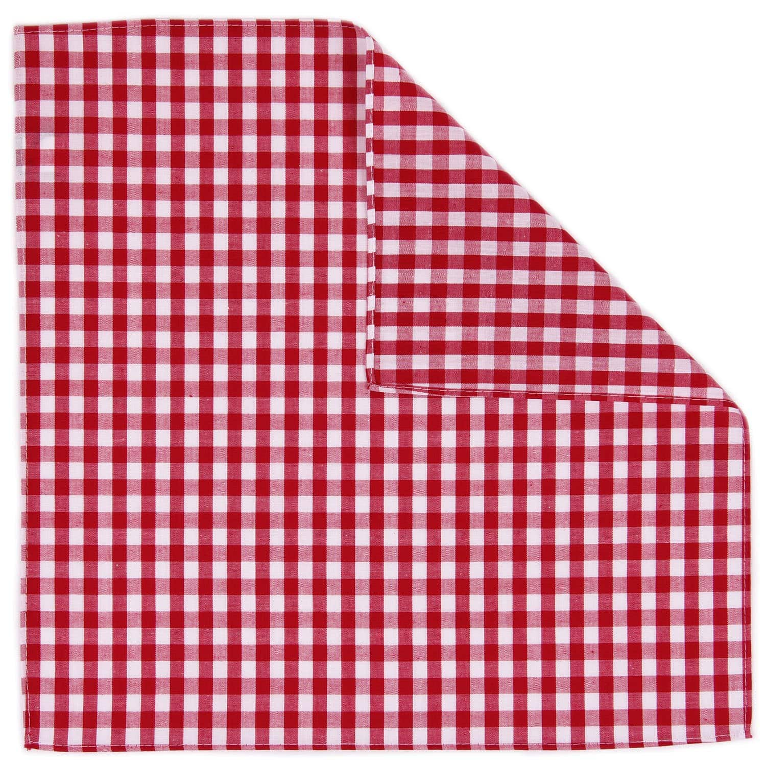 Red Gingham Pocket Square - Haspel Clothing