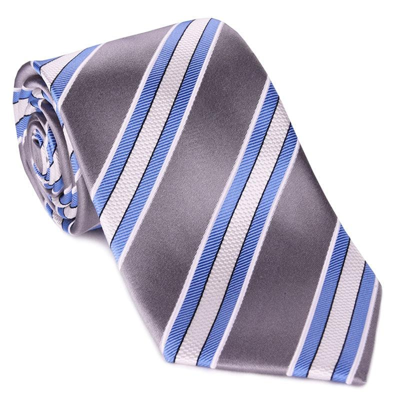 Silver Satin with Light Blue Bar Stripe Tie
