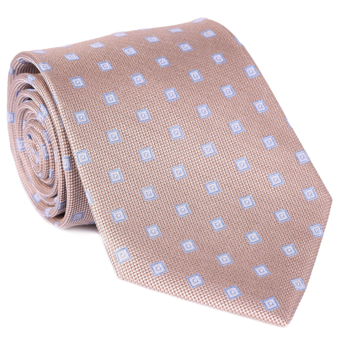 Tan Mini Box Print Tie