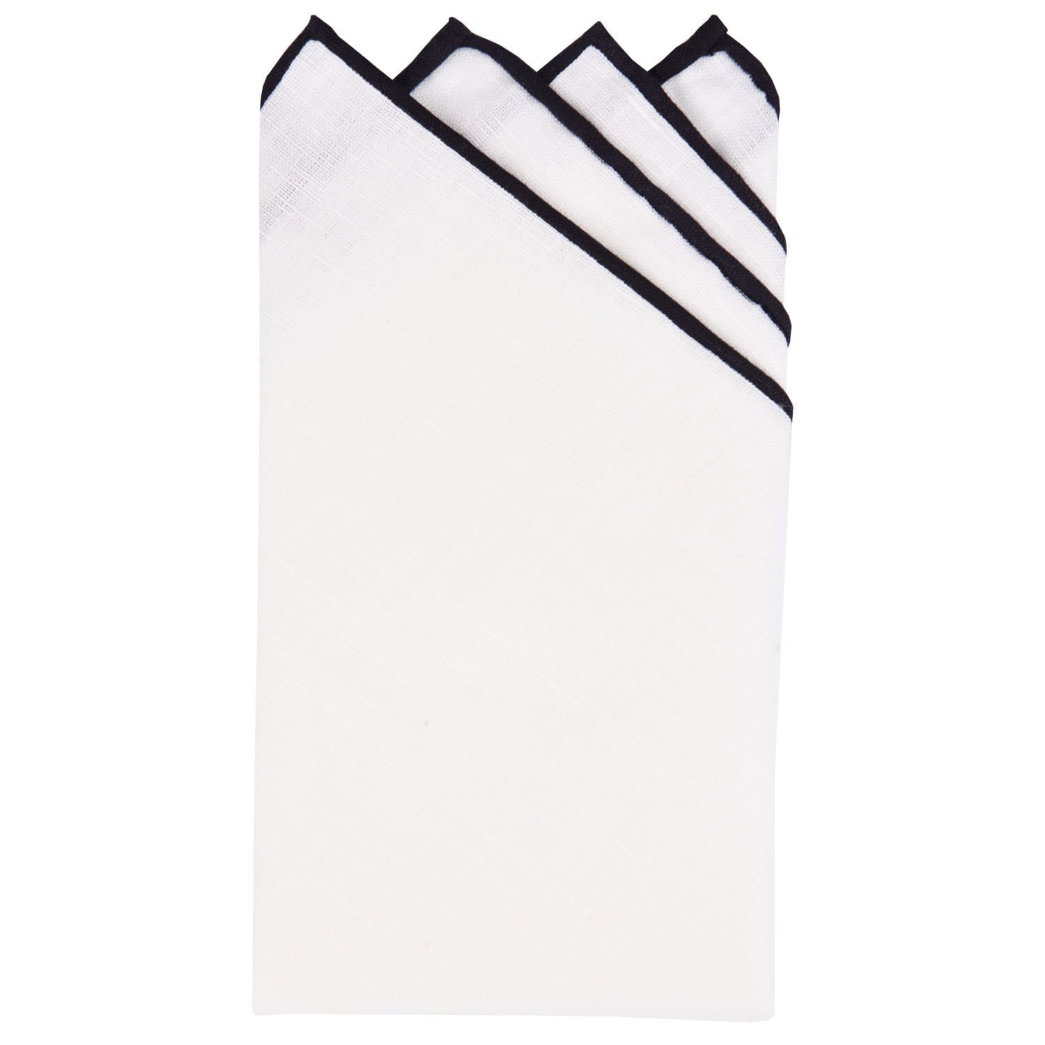 White/Black Pre-Folded Linen Pocket Square - Haspel Clothing