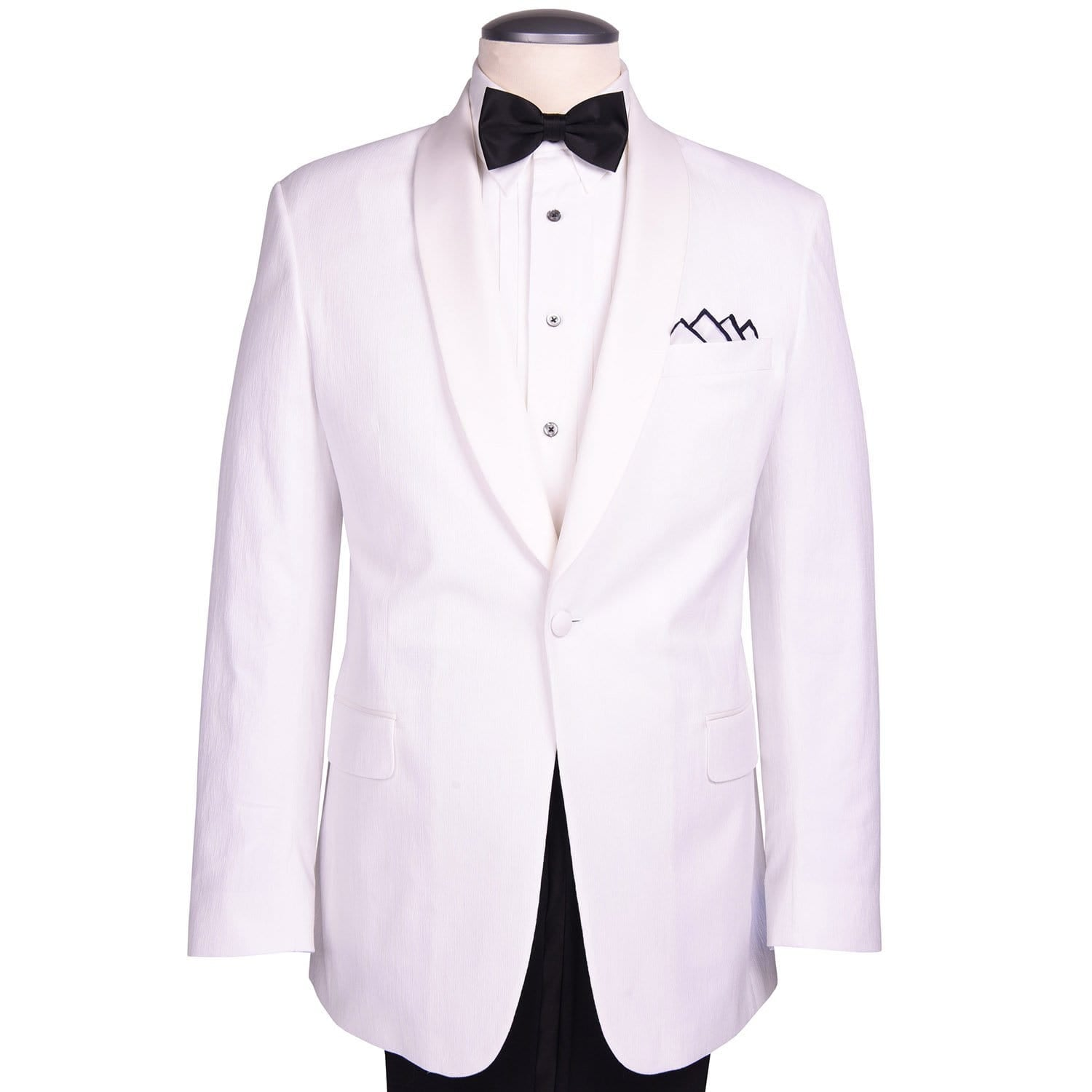 "White Textured Cotton ""Royale"" Dinner Jacket - Haspel Clothing"