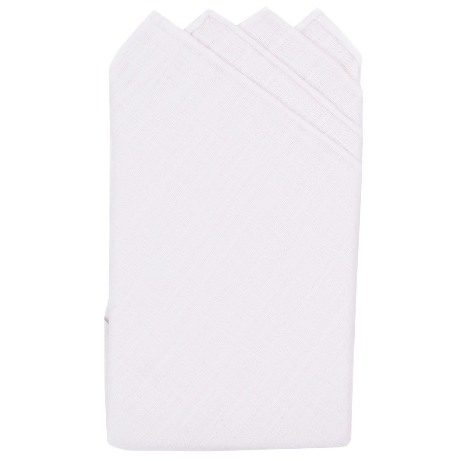 White Linen Pre-Folded Linen Pocket Square - Haspel Clothing