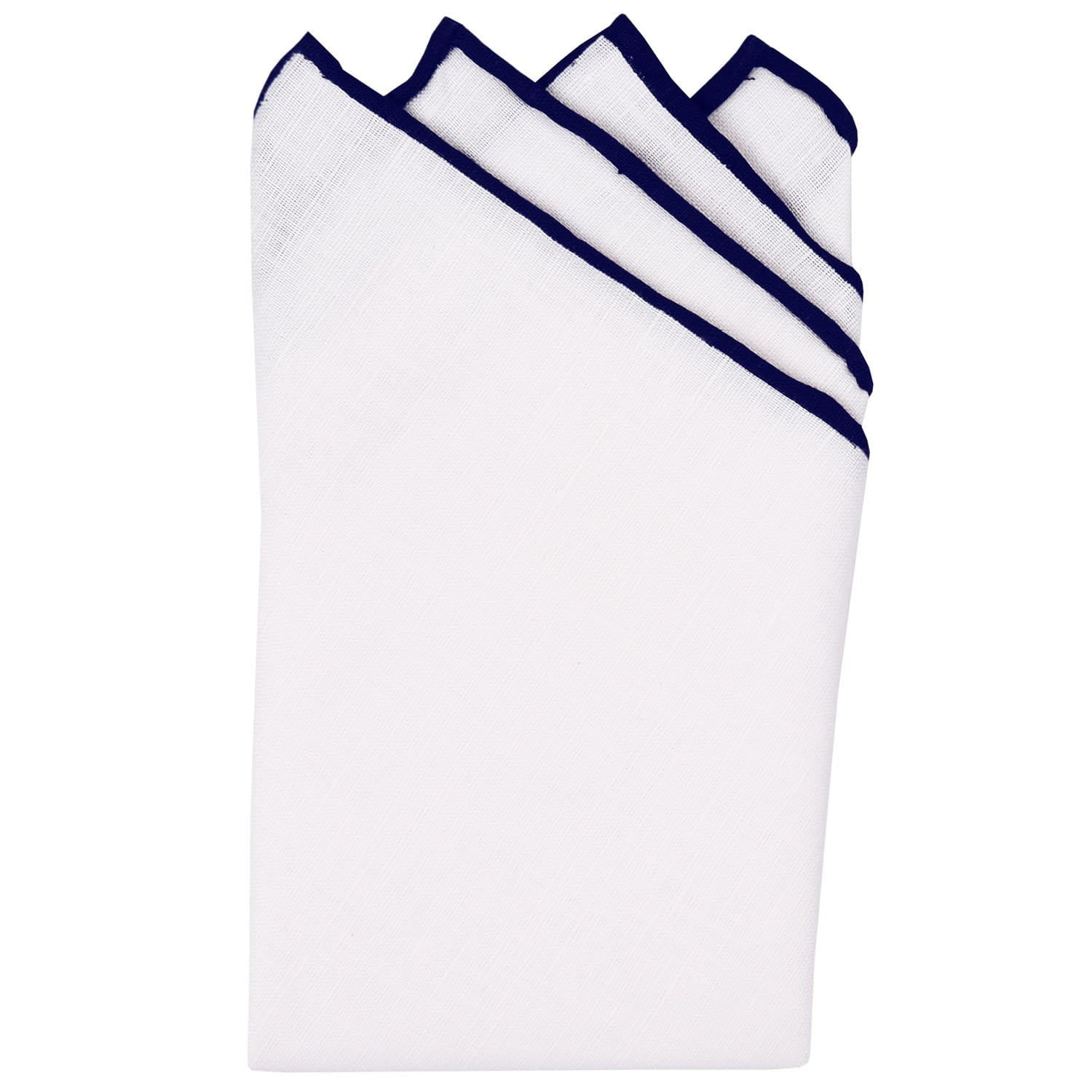 White/Navy Pre-Folded Linen Pocket Square - Haspel Clothing