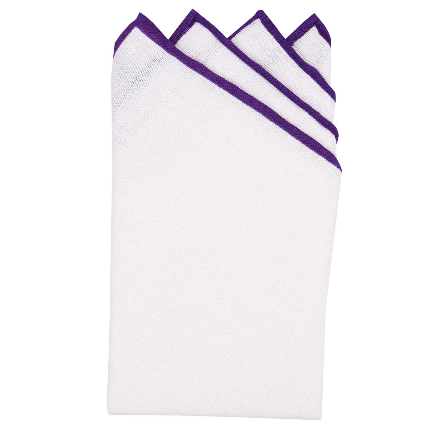 White/Purple Pre-Folded Linen Pocket Square