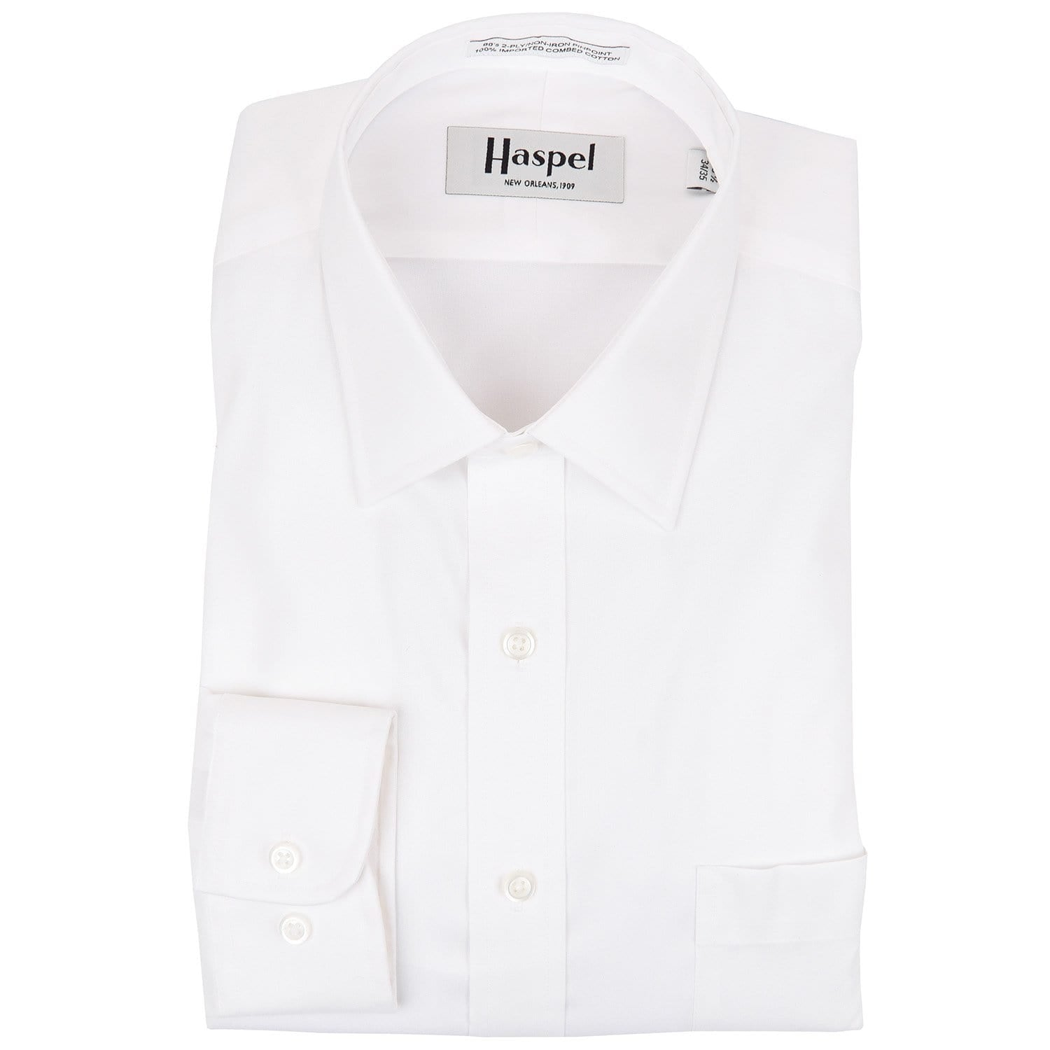 Dauphine Solid White Broadcloth Dress Shirt - Haspel Clothing