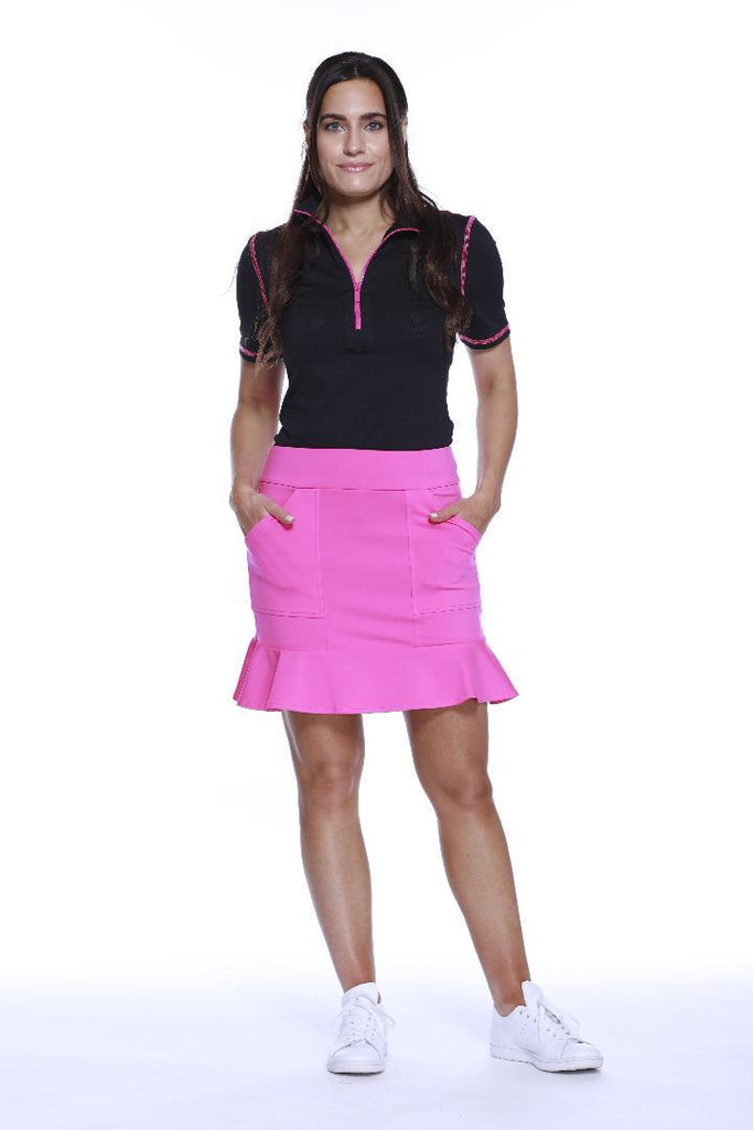 "POLY/SPAN PULL ON FLIPPY SKIRT 17"" PINK"