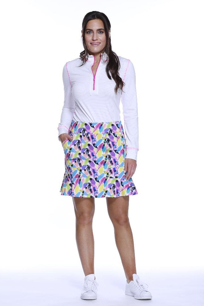 "POLY/SPAN PULL ON FLIPPY SKORT ""17 PLAYFUL FEATHERS"