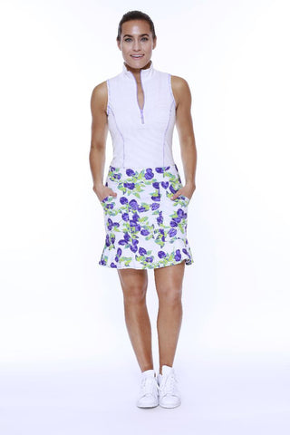 "POLY/SPAN PULL ON FLIPPY SKORT ""17 PLUMB PRINT"