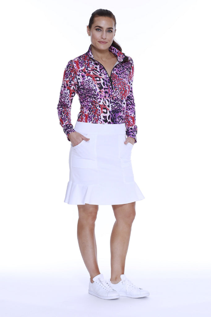"POLY/SPAN PULL ON FLIPPY SKORT ""19 WHITE"
