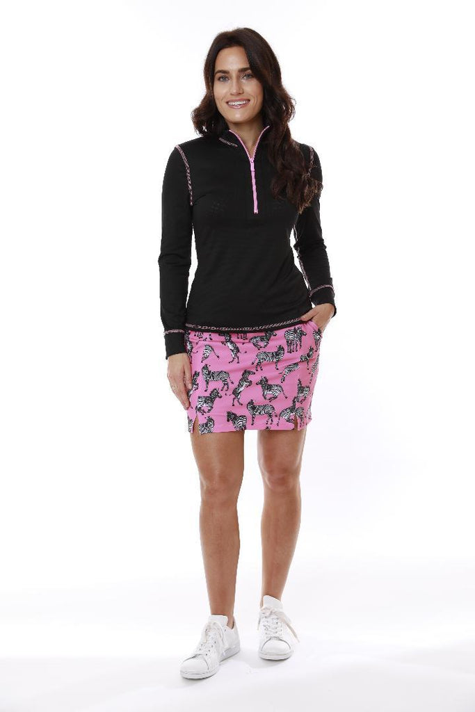MONTECITO ZIP FRONT TOP BLACK/ BUBBLEGUM