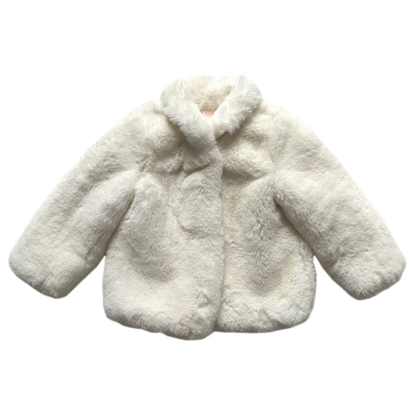 little girls silk white baroness vegan fur jacket | aubrie australia