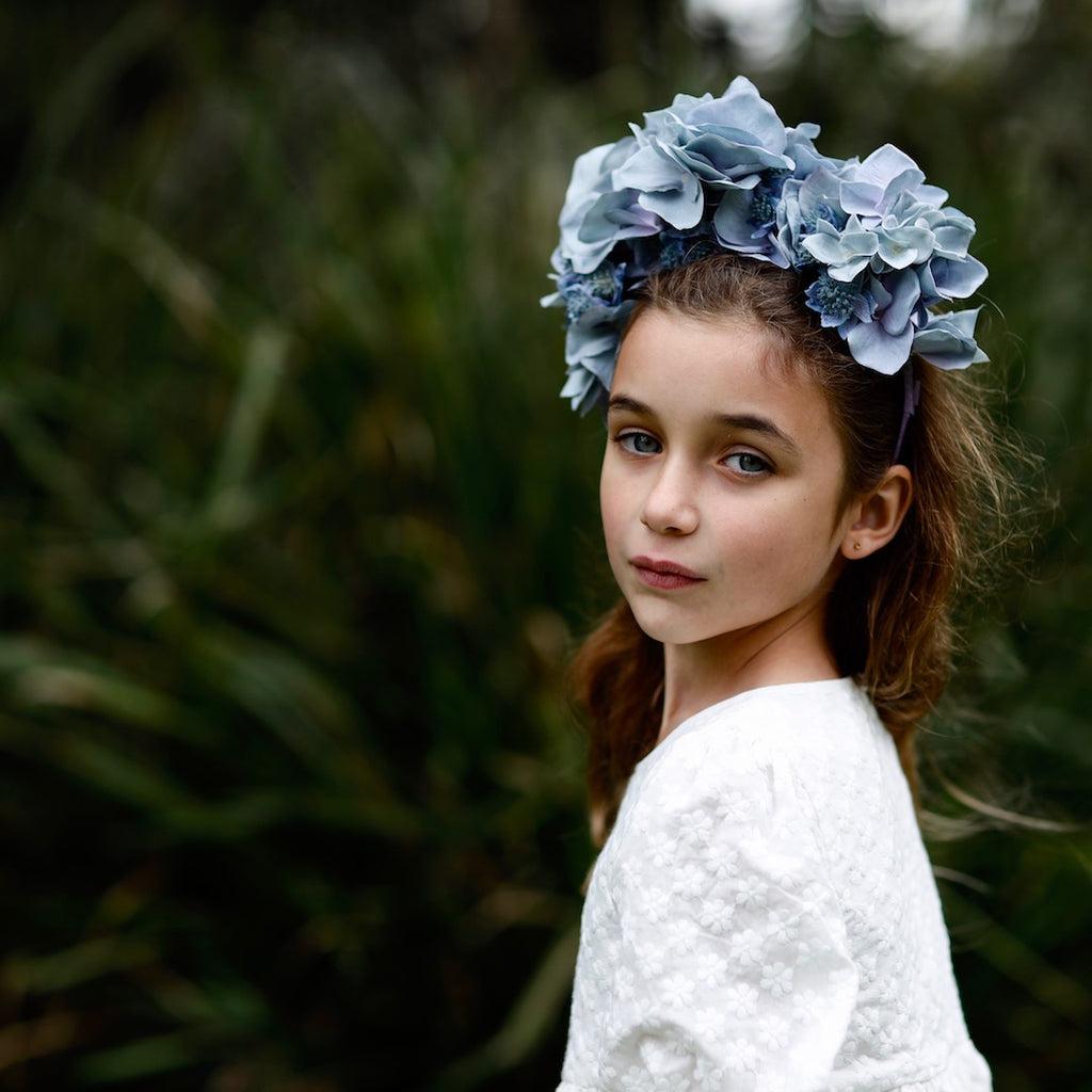 arabella flower crown - blue blooms
