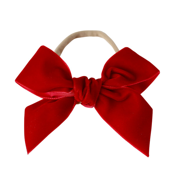 deluxe bow headband - cherry velvet