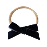 school girl bow headband - french navy velvet
