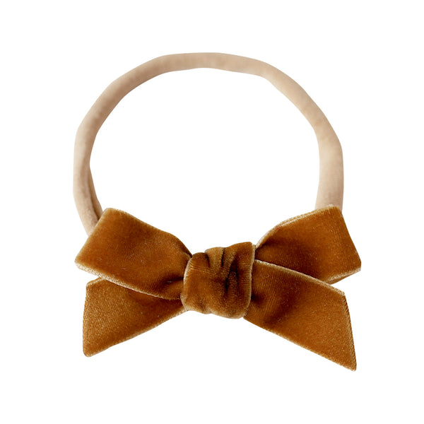 school girl bow headband - honeysuckle velvet