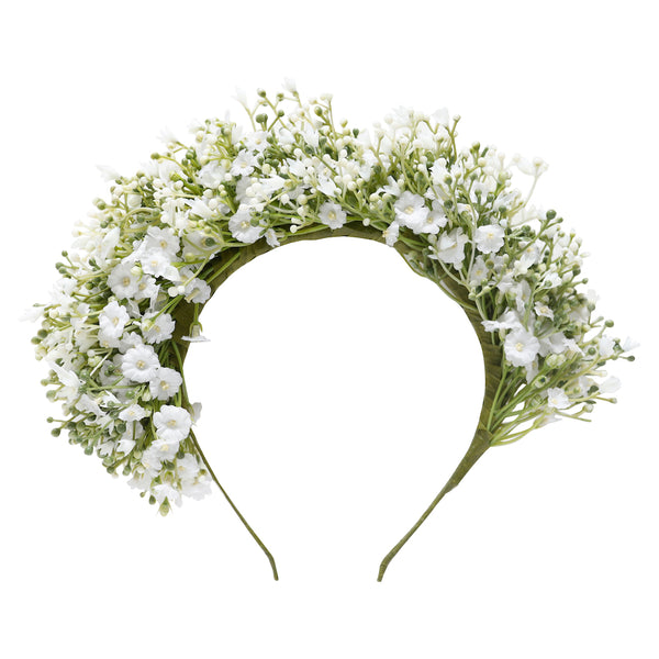 luella flower crown - white gypsophila