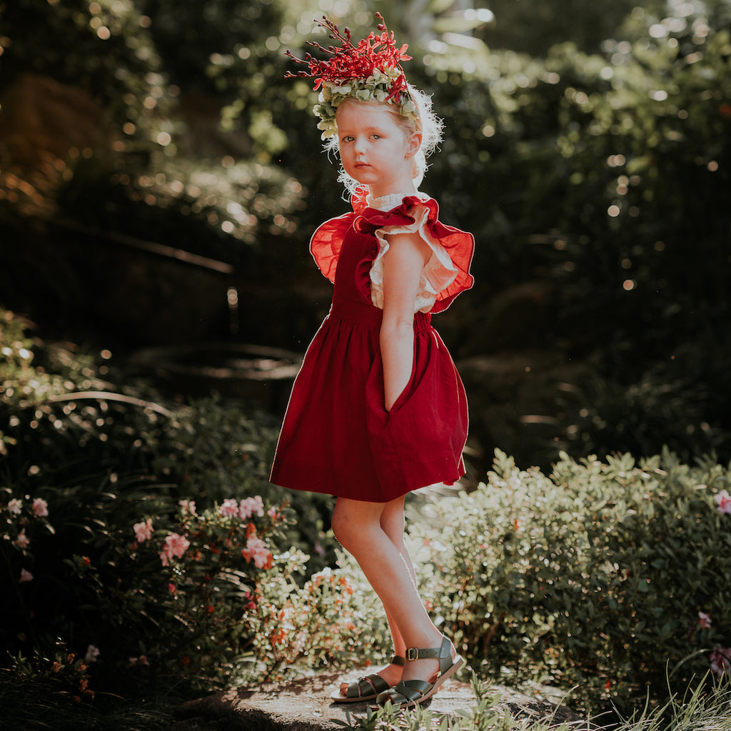 Cherry Corduroy Mabel Dress by Aubrie