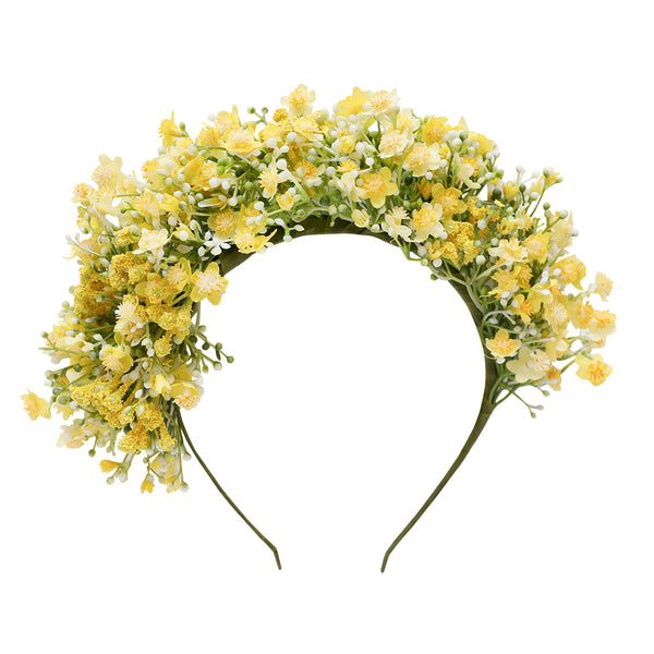 luella flower crown - yellow gypsophila