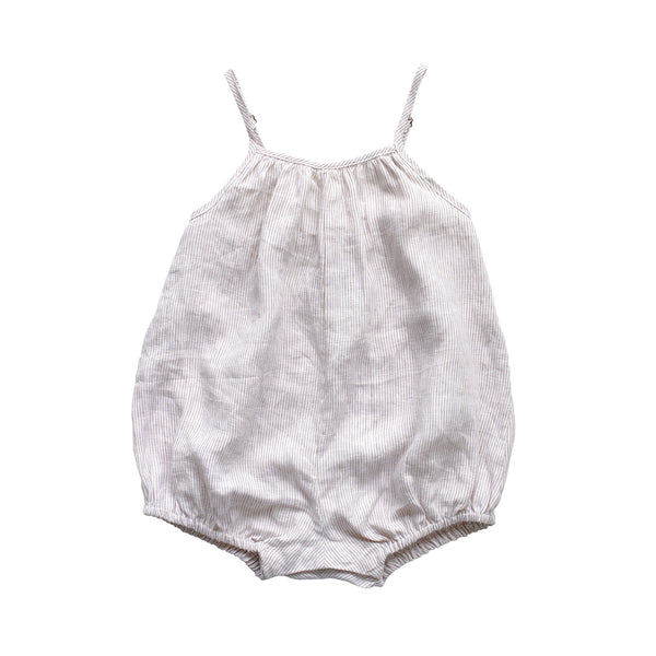 puffball playsuit - ticking stripe linen