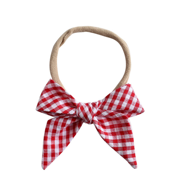 betty bow headband - cherry gingham seersucker