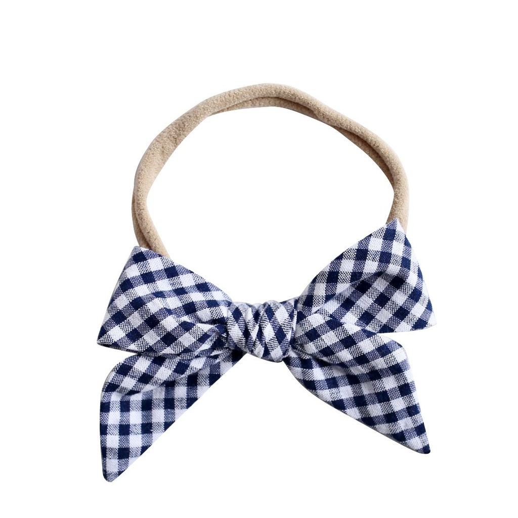 betty bow headband - indigo gingham seersucker