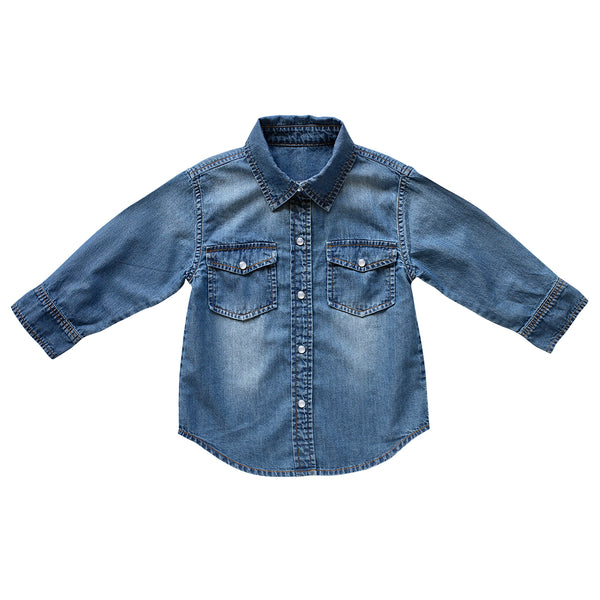 clover cowgirl shirt - vintage wash denim
