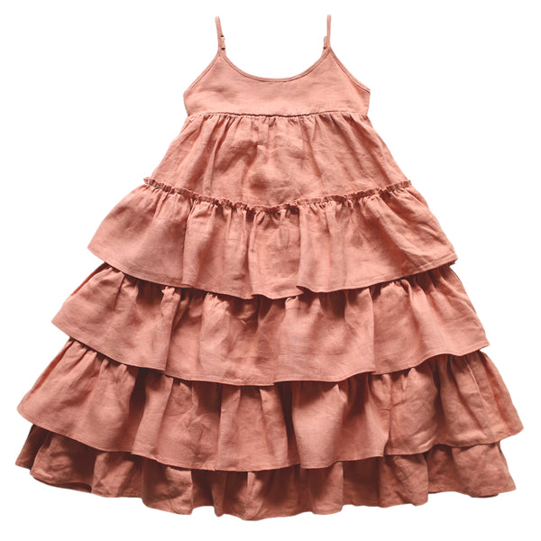 flamenco frock - terracotta washed linen